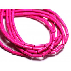 Fil 39cm 29pc env - Perles de Pierre Turquoise Synthèse Tubes 13x4mm Rose Fluo