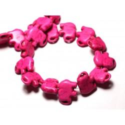 Fil 39cm 27pc env - Perles de Pierre Turquoise Synthèse Éléphant 19mm Rose
