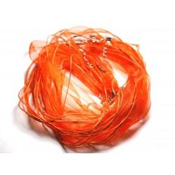 100pc - Colliers Tours de Cou 47cm Coton et Tissu Organza 10mm Orange