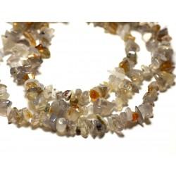 Fil 89cm 310pc env - Perles de Pierre - Agate grise naturelle Rocailles Chips 4-10mm