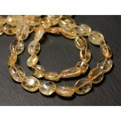 Fil 35cm 32pc env - Perles de Pierre - Citrine Olives Ovales 8-15mm - 8741140012677