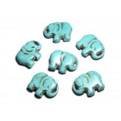Fil 39cm 13pc env - Perles de Pierre Turquoise Synthèse Éléphant 38mm Bleu Turquoise