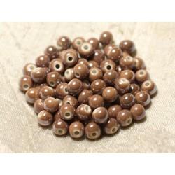 100pc - Perles Céramique Porcelaine Boules 6mm Marron Beige irisé