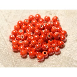 100pc - Perles Céramique Porcelaine Boules 6mm Orange irisé