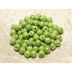 100pc - Perles Céramique Porcelaine Boules 6mm Vert clair Anis irisé