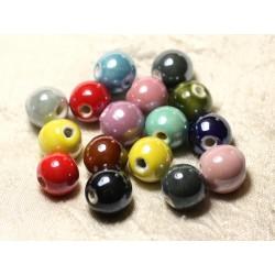 50pc - Perles Céramique Porcelaine Boules 14mm irisées Multicolores