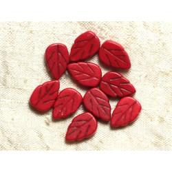 Fil 39cm 26pc env - Perles de Pierre Turquoise Synthèse Feuilles 14mm Rouge