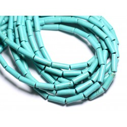 Fil 39cm 29pc env - Perles de Pierre Turquoise Synthèse Tubes 13x4mm Bleu turquoise