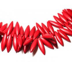 Fil 39cm 120pc env - Perles de Pierre Turquoise Synthèse Marquises 28mm Rouge