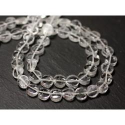 Fil 32cm 50pc env - Perles de Pierre - Cristal Quartz Palets 6mm - 8741140012776