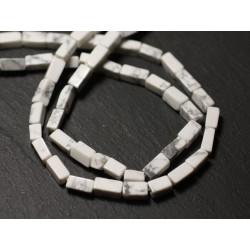 Fil 32cm 42pc env - Perles de Pierre - Howlite Rectangles Cubes 5-8mm - 8741140012875