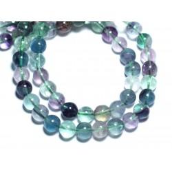 Fil 39cm 50pc env - Perles de Pierre - Fluorite Multicolore Boules 8mm