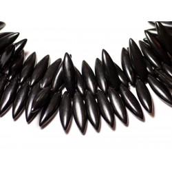 Fil 39cm 120pc env - Perles de Pierre Turquoise Synthèse Marquises 28mm Noir