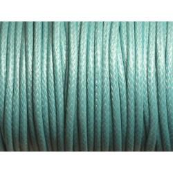 Bobine 45 mètres - Fil Cordon Coton Ciré 3mm Bleu Turquoise