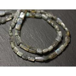 Fil 33cm 62pc env - Perles de Pierre - Labradorite Rectangles Cubes 3-6mm - 8741140012899
