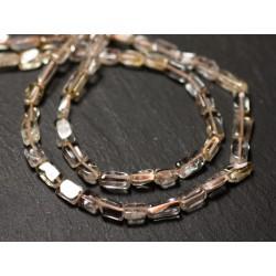 Fil 35cm 53pc env - Perles de Pierre - Citrine Rectangles Cubes 5-8mm - 8741140012851
