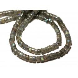 Fil 33cm 113pc env - Perles de Pierre - Labradorite Rondelles Heishi 4-5mm - 8741140012967