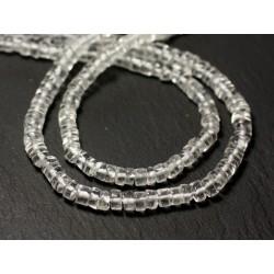 Fil 34cm 125pc env - Perles de Pierre - Cristal Quartz Rondelles Heishi 4-5mm - 8741140012943