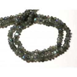 Fil 33cm 112pc env - Perles de Pierre - Labradorite Rondelles Bouliers 4-5mm - 8741140013087