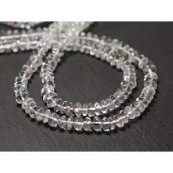 Fil 34cm 109pc env - Perles de Pierre - Cristal Quartz Rondelles Bouliers 5-6mm - 8741140013070