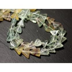Fil 37cm 44pc env - Perles de Pierre - Fluorite Multicolore Triangles 6-10mm - 8741140013124