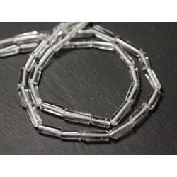 Fil 36cm 35pc env - Perles de Pierre - Cristal Quartz Tubes 5-14mm - 8741140013216