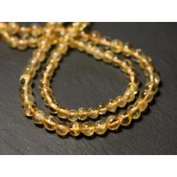 Fil 33cm 75pc env - Perles de Pierre - Citrine Boules 4mm - 8741140012394