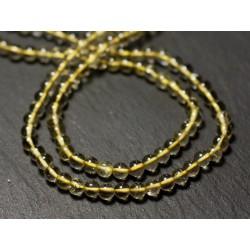 Fil 33cm 91pc env - Perles de Pierre - Topaze Jaune Citrine Boules 3-4mm - 8741140012493