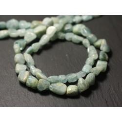Fil 32cm 35pc env - Perles de Pierre - Aigue Marine Olives 8-14mm - 8741140012516