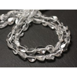Fil 32cm 36pc env - Perles de Pierre - Cristal Quartz Olives 7-12mm - 8741140012578