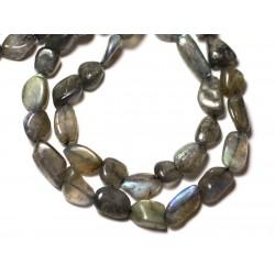 Fil 33cm 29pc env - Perles de Pierre - Labradorite Olives 8-15mm - 8741140012608