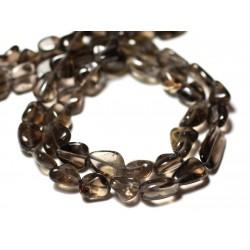 Fil 34cm 35pc env - Perles de Pierre - Topaze Fumée Olives 7-12mm - 8741140012639