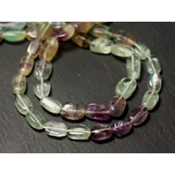 Fil 37cm 38pc env - Perles de Pierre - Fluorite Multicolore Olives Ovales 8-11mm - 874114001269