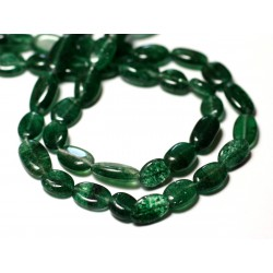 Fil 34cm 32pc env - Perles de Pierre - Aventurine Verte Olives Ovales 8-15mm - 8741140012660