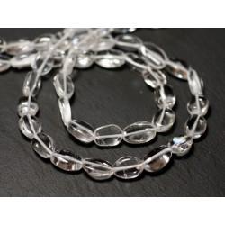 Fil 33cm 34pc env - Perles de Pierre - Cristal Quartz Olives Ovales 7-10mm - 8741140012684