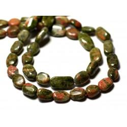 Fil 34cm 25-31pc env - Perles de Pierre - Unakite Olives Ovales 8-15mm - 8741140012769