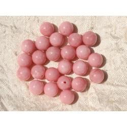 Fil 39cm 49pc env - Perles de Pierre - Jade Boules 8mm Rose Corail Pêche