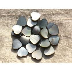 Fil 39cm 31pc env - Perles Nacre noire naturelle Coeurs 12mm