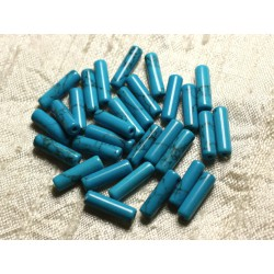Fil 39cm 26pc env - Perles de Pierre Turquoise Synthèse Tubes 14mm Bleu Turquoise