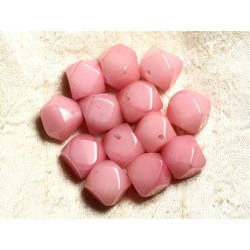 Fil 39cm 25pc env - Perles de Pierre - Jade Cubes Facettés 14-15mm Rose clair