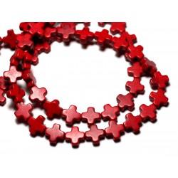 Fil 39cm 49pc env - Perles de Pierre Turquoise Synthèse Croix 8mm Rouge Bordeaux