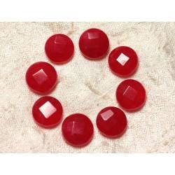 Fil 39cm 27pc env - Perles de Pierre - Jade Palets Facettés 14mm Rouge