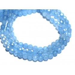 Fil 39cm 89pc env - Perles de Pierre - Jade Boules Facettées 4mm Bleu clair