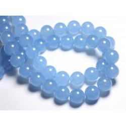 Fil 39cm 26pc env - Perles de Pierre - Jade Boules 14mm Bleu clair