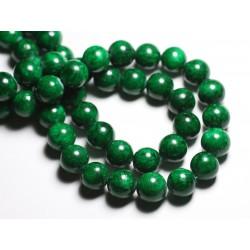 Fil 39cm 33pc env - Perles de Pierre - Jade Boules 12mm Vert Empire