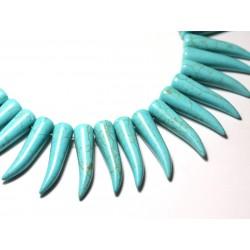 Fil 39cm 39pc env - Perles de Pierre Turquoise Synthèse Piment Corne Dent 40mm Bleu Turquoise