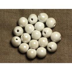 100pc - Perles Céramique Porcelaine Rondes 12mm Blanc irisé