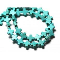 Fil 39cm 49pc env - Perles de Pierre Turquoise Synthèse Croix 8mm Bleu Turquoise