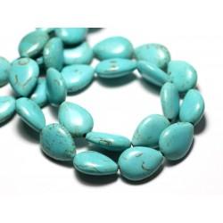 Fil 39cm 22pc env - Perles de Pierre Turquoise Synthèse Gouttes 18x14mm Bleu Turquoise