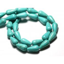 Fil 39cm 26pc env - Perles de Pierre Turquoise Synthèse Gouttes 14mm Bleu Turquoise